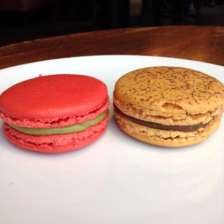Pistachio & Cherry, Milk Chocolate & Hazelnut Praline Macarons - at ...