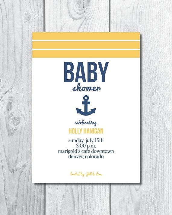 nautical anchor baby shower invitation personalized custom made pdf