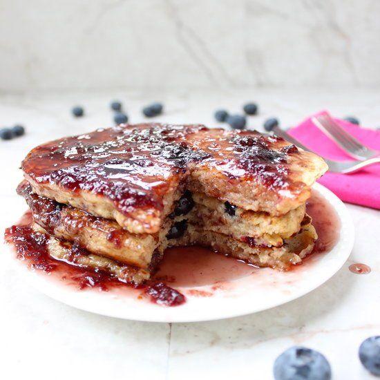 Blueberry multi-grain yogurt pancakes with easy blackberry syrup.