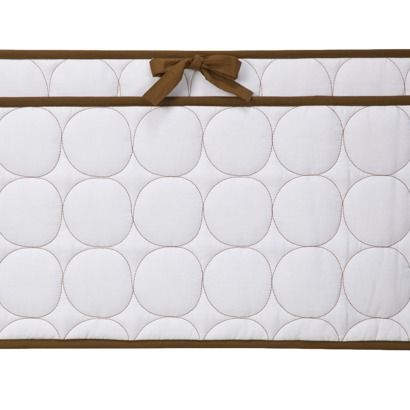 Bacati Quilted Bumper Pad - White/Chocolate.Opens in a new window
