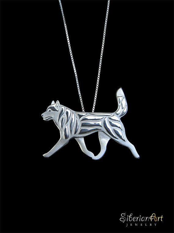 Siberian Husky movement pendant by SiberianArtJewelry.