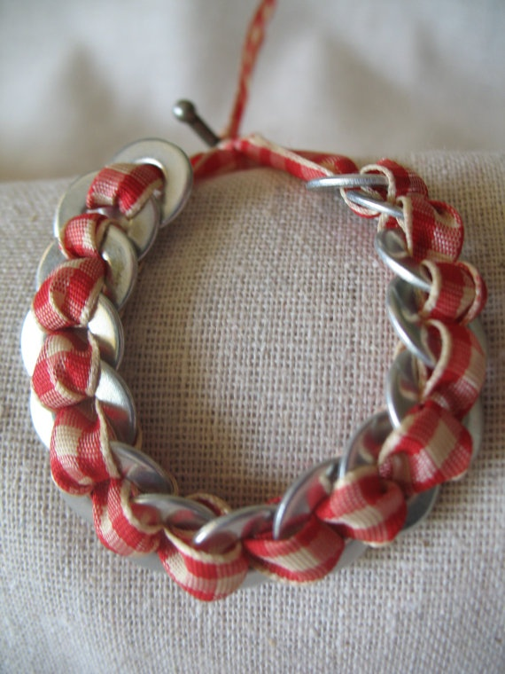 Ribbon and Washer Bracelet by The Ruby Rhino.