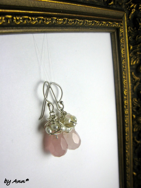 Pink quartz pearls and silver earrings by BoutiquePrivilege, $39.00