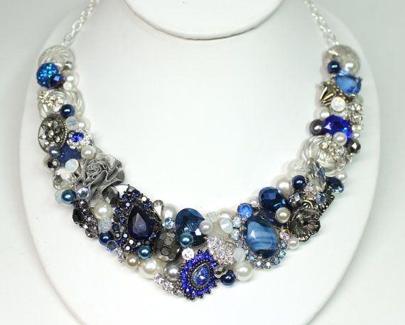 sapphire blue statement necklace cobalt blue jewelry