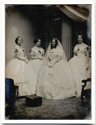 a bride and her bridesmaids 1850