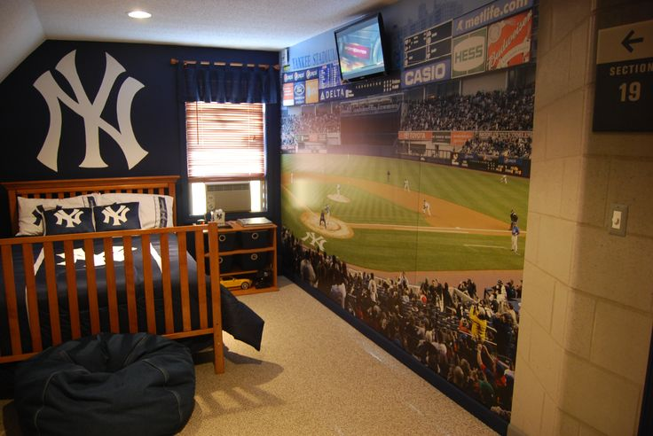 Pin by sarah fleming on kids 39 room pinterest for Baseball stadium wall mural
