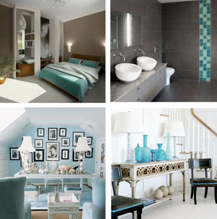 Turquoise tiles bathroom for Black and teal bathroom ideas