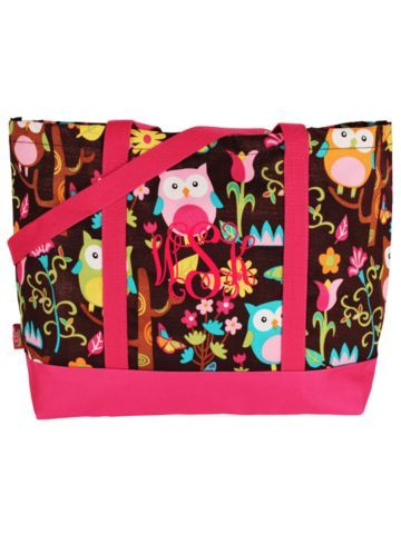 $8.50 Owl Give a Hoot Tote Bag with Hot Pink Trim