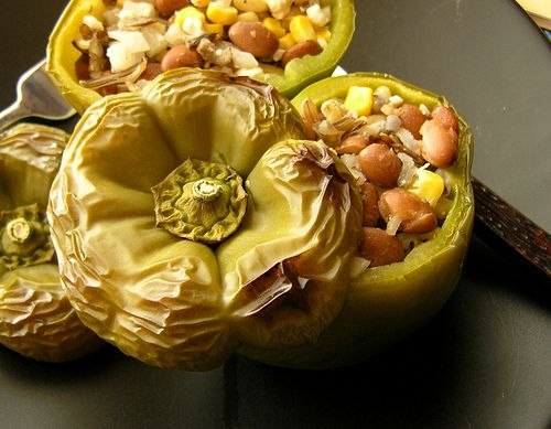 ... peppers: bell peppers stuffed with corn, wild rice and pinto beans