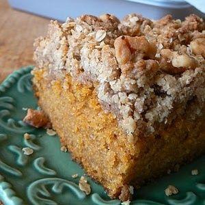 Pumpkin Crumb Cake for breakfast or Sunday bronch, make plenty sweetened whipped cream!
