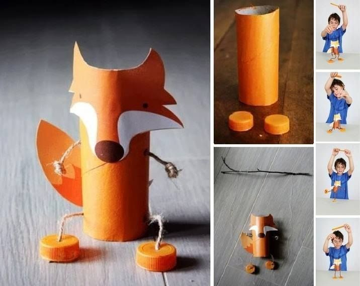 fox puppet made from toilet paper rolls diy craft