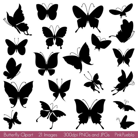 Butterfly Silhouette Vectors/Clipart ~~ Our Butterfly Clipart includes 1 Illustrator EPS file (EPS8), 21 PNG files with transparent backgrounds and 21 JPG files with white backgrounds.     All the PNGs and JPGs are 300dpi and approximately 10 inches at their widest point; Please note the PNGs and …