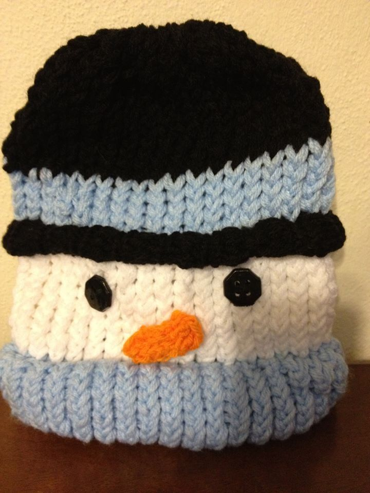 Snowman Hat Knitting Pattern : snowman hat loom knitting project Ive done Pinterest
