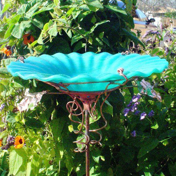 JADE GREEN BIRDBATH stained glass Garden Art Copper