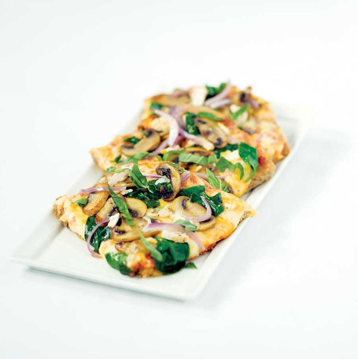 Chicken & Spinach Pizza with Fresh Basil & Thyme (omit the onions)