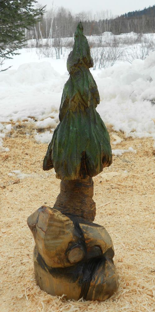 Pine tree chainsaw carving rustic decor hand carved wood