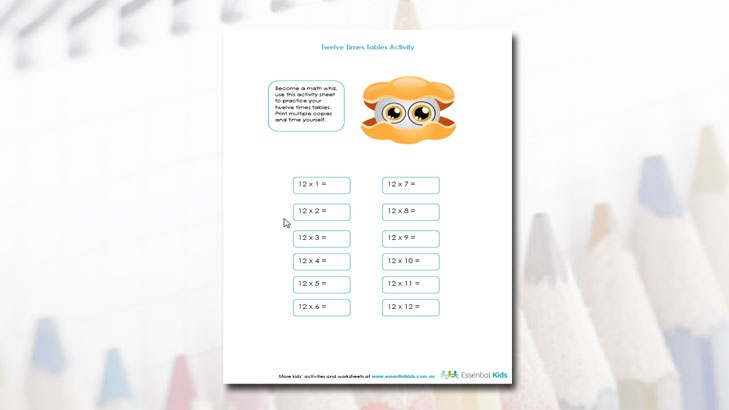 twelve times tables | tEACHING rESOURCES nEVER tOO oLD tO lEARN | Pin ...