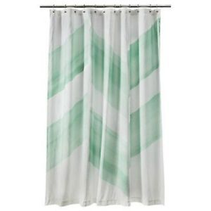 Target nate berkus color block shower curtain chevron green mint zig