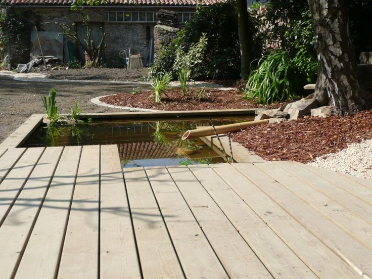 terrasse bois donnant sur bassin  Terrassejardin  Pinterest