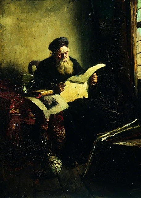 Johannes Weiland  Old man reading, 1870