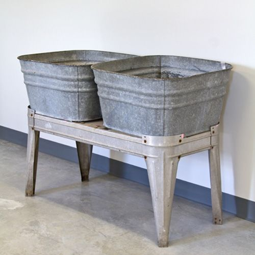 Awesome Wash Tubs Vintage Galvanized Double Basin Wash Tub Or Laundry Sink