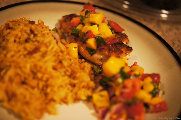 Pan fried chicken and mango salsa w/ rice pilaf