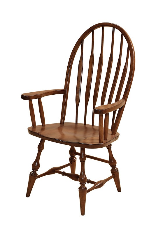 SET 2 Amish Windsor Dining Chairs Wooden Wood Kitchen Country Cottage