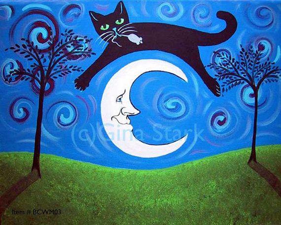 Image result for black cat at night whimsical art