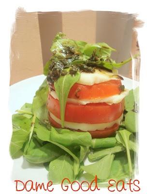 Tomato, Mozzarella and Arugula Towers | Dame Good Eats | Pinterest