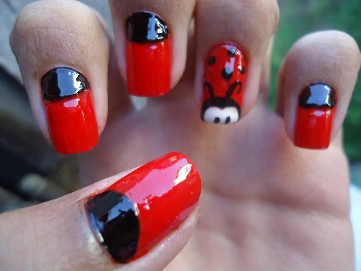 ladybug nail art | Ladybug | Pinterest