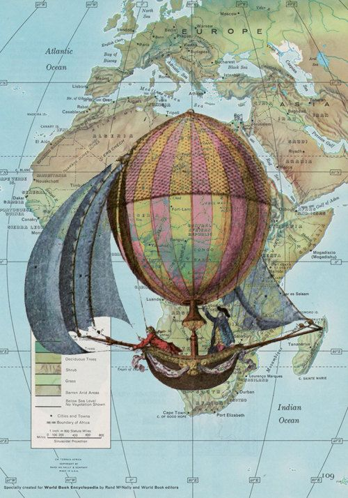 Hot Air Balloon-Vintage Map Print- 8x10
