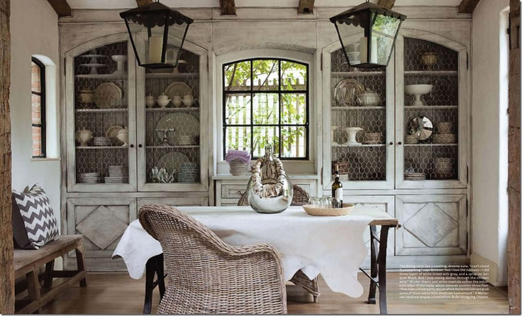 sweet french country look - dinning rm storage? or breakfast area?