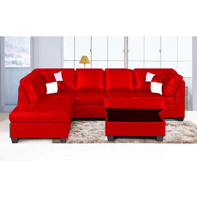 Jingo Faux Leather Orange Red 3 Piece Sectional Sofa Set