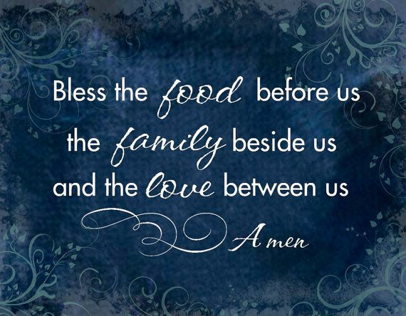 Bless this Food Mounted Word Art Print 11x14 - Food Family Love Blessing Grace Prayer print