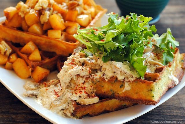 Savory Herbed Waffles with Roasted Chicken & Mustard Cream Sauce