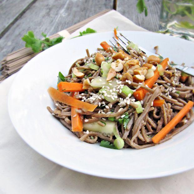Cold Sesame Noodles with Veggies via Katie at the Kitchen Door