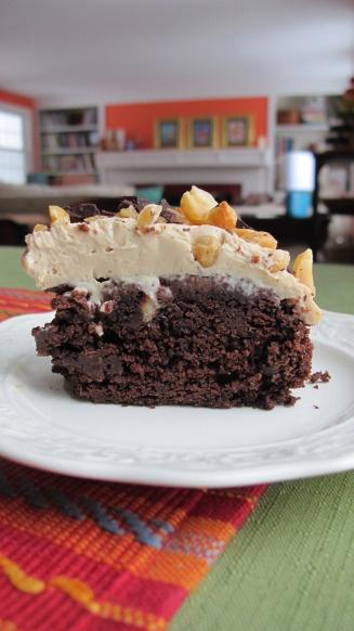 My vegan version of Bon Appetit's Chocolate Peanut Butter Fun Cake