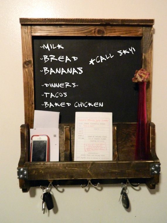 Chalkboard key and mail holder - Mail holder and key rack ...