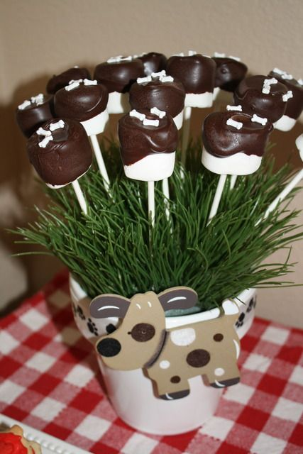 chocolate marshmallows with bones. how cute