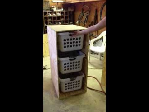 DIY Laundry Basket Holder - YouTube Woodworking Pinterest