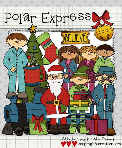 """Express""ly for you! Join the TpT December Facebook Frenzy to snag this cute Polar Express clip art, as well as lots of other winter-themed clip art FREE. (Dec. 6-9, 2013)"