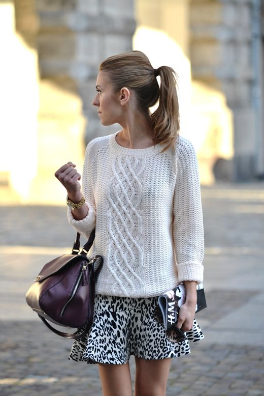 leopard skirt, cable knit