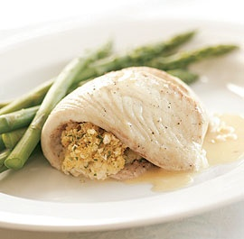 Baked Tilapia with Tarragon-Scallion Stuffing & Butter Sauce | Recipe