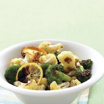 Roasted broccoli & cauliflower with garlic and lemon. Recipe ...