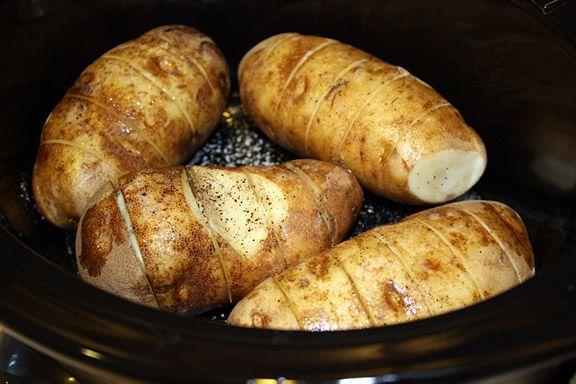 slow cooker Garlic Baked Potatoes | Favorite Recipes | Pinterest