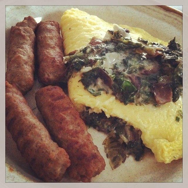 ... Spinach Mushroom Egg White Omelette with Mozzarella and Feta Cheese