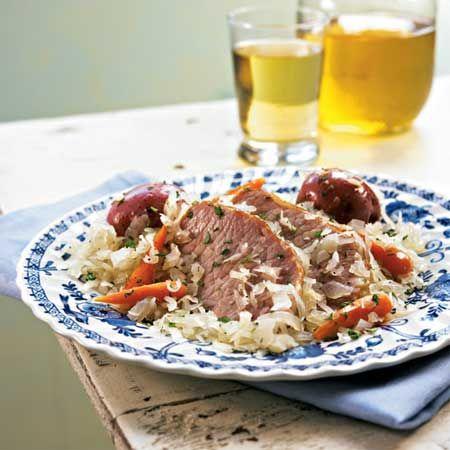 Alsatian Smoked Pork Chops and Sauerkraut Photo by: Mitch Mandel