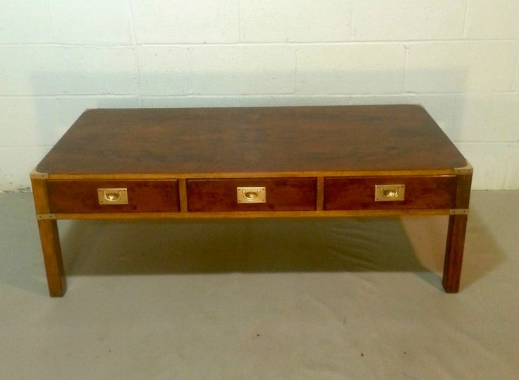 Ethan allen military cocktail coffee table vintage campaign style tra
