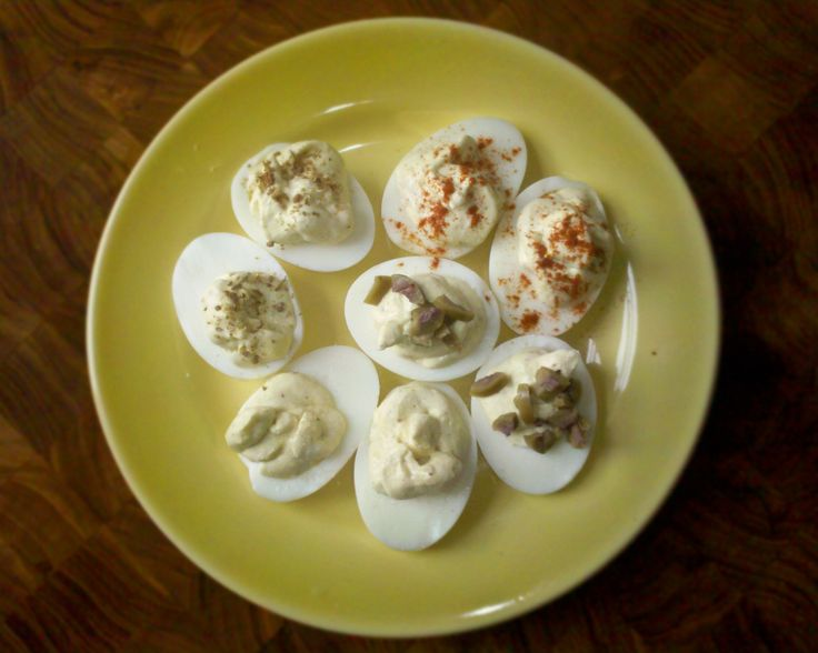 Deviled Eggs; Purgatory Edition ( with lots of suggested toppings)