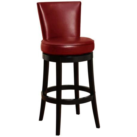 Boston 30 High Red Leather Swivel Bar Stool